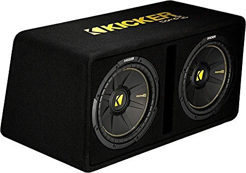 - Kicker Dual 12-Inch 1200 Watt 2 Ohm Vented Loaded Subwoofer Enclosure, 44DCWC122,Black,31.88 x 13.2 x 17.25 x 16 inches