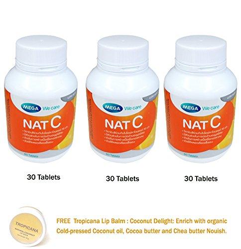 3 x 30 Tablets NAT C Vitamin C 1000 MG MEGA WECARE [GET Free Tomato Facial MASK]
