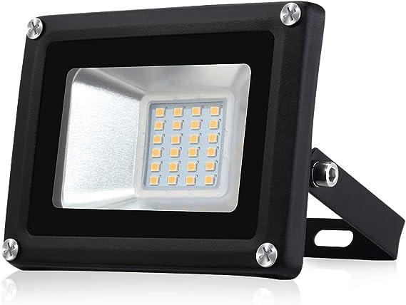 20W Proyector LED Floodlight 1600lm Focos LED Exterior para patio Impermeable IP65 3000K Blanco Cálido, Proyector para patio, garaje, taller[clase energética A+]: Amazon.es: Iluminación