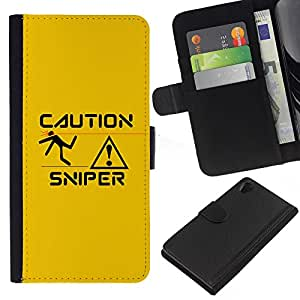 KLONGSHOP // Tirón de la caja Cartera de cuero con ranuras para tarjetas - Sniper Precaución - Sony Xperia Z2 D6502 //
