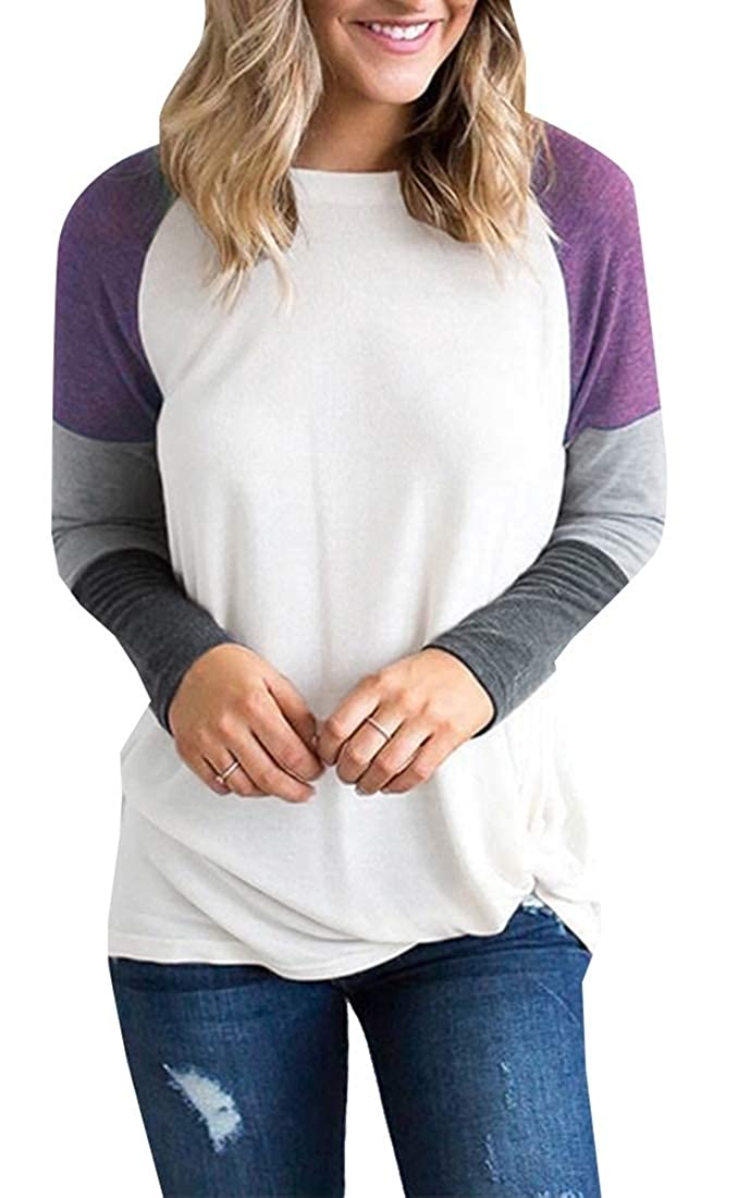 M/&S/&W Womens Casual Long Sleeve T-Shirt Triple Color Block Patchwork Tunic Tee Tops