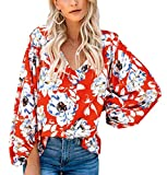 Angerella Womens Tie Front Tops 3/4 Sleeve Loose Casual Workout V Neck Blouses: more info