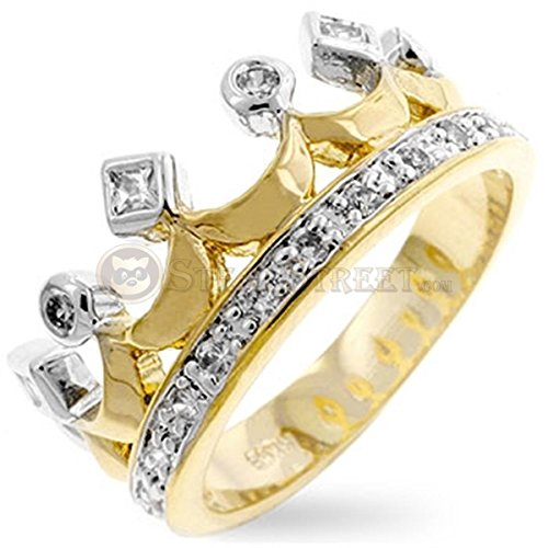 Two Tone Cubic Zirconia Studded Crown Gold Colored Ring, Size 7