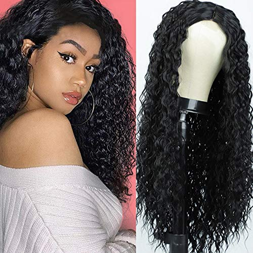 Synthetic Wig Long Black Curly Wig for Black Women None Lace Front Wigs Glueless Natural Color Machine Made Wigs Attached High-Density Heat Resistant (27 inches )