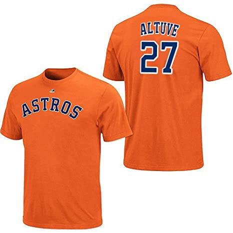 18926a9e6 Jose Altuve Houston Astros Mens Orange Player Name   Number T-Shirt Jersey  by Majestic