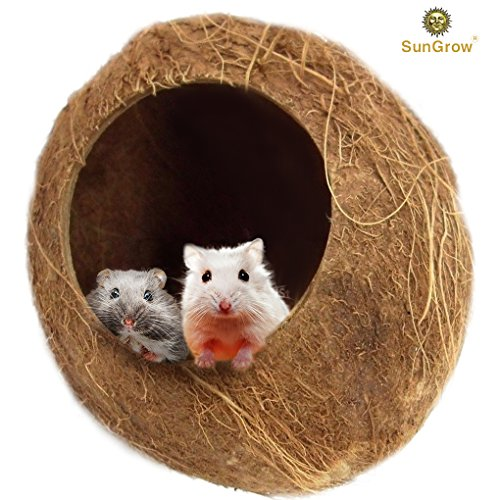SunGrow Coconut Shell House for Hamsters - Pet Hiding House - The Perfect Hidey Hole for Mice, Rats, Gerbils - Adds Natural Look to Their Home - Climber or Chew Toy