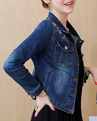 Elegante Giaccas Blu Denim Fit Jeans Manica Giacca Marino Donna Lunga Classica Slim Moda Giubbotto Vintage Cardigan Outerwear FxqUSwEB