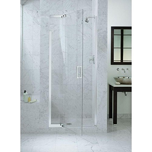 - KOHLER K-702010-L-SH Purist Frameless Pivot Shower Door with Clear Glass, Bright Silver