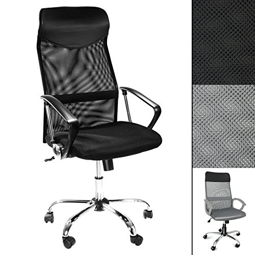 Conference Meeting Chair (Office Marshal Computer Desk Chair | Tall Ergonomic Swivel Chair for Office or Home | High Mesh Back for Lumbar Support | Black)