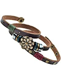 Celokiy Multilayer Leather Personality Hematite Lucky Lotus Flower Snap Button Wrap Bracelet