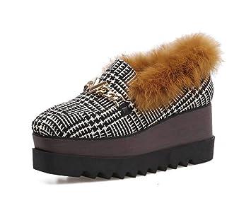 Las Mujeres de la Bomba Mocasines de Peluche Plataforma Zapatos cómodos pies Cuadrados 7cm cuña Tacones Cadena de Enrejado Zapatos Casuales UE tamaño 34-39: ...