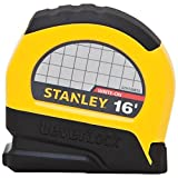 Stanley 30-812 16' x 3/4 Lever lock Tape Rules. Unique power-return feature, with automatic bottom lock, streamlines tape operation. High-visibility case makes it easy to find in a tool box or on the job. Special Tru-Zero hook does double-duty as a p...