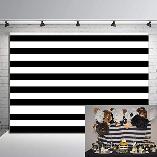 Fotupuul Black and White Stripes Backdrop for Birthday Wedding Party Dessert Table Decor Studio Photography Pictures 7x5FT]()
