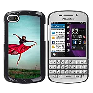 PC/Aluminum Funda Carcasa protectora para BlackBerry Q10 Dancing Red Skirt Girl Exercise Nature Sky / JUSTGO PHONE PROTECTOR