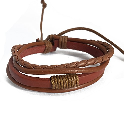 Multi-strand Mens Women Brown Tan Leather Cotton Rope Wristband Wrap Adjustable Bracelet ()