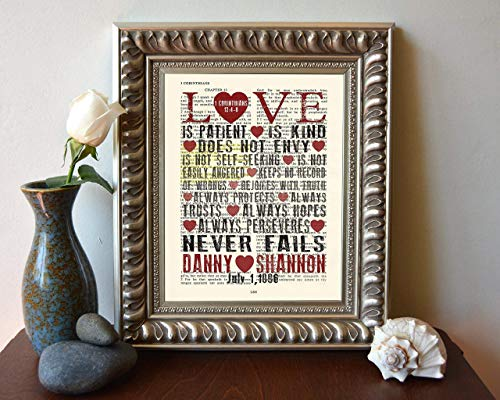 Custom Vintage Bible page PERSONALIZED verse scripture Love is Patient Love is Kind 1 Corinthians 13 Christian art print, UNFRAMED, dictionary wall & home decor poster, wedding couples gift
