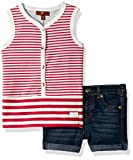 7 For All Mankind Baby Girls' Stripe Tank and Denim Short Set, Rosewine, 24M
