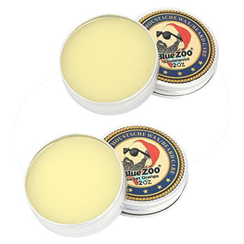 SunniMix Natural 2Pcs Men Beard Cream Balm Moustache Taming Wax Oil Sandalwood/Orange