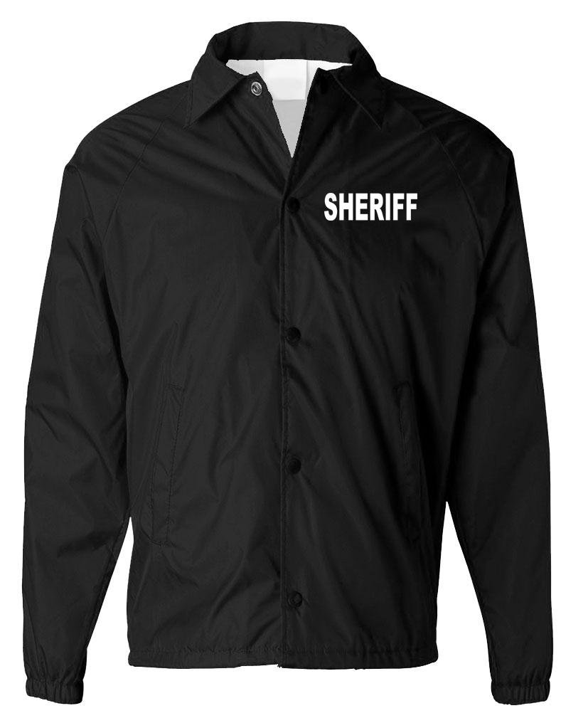 The Goozler Sheriff - Police Officer Deputy Windbreaker - Mens Coaches Jacket, M, Black