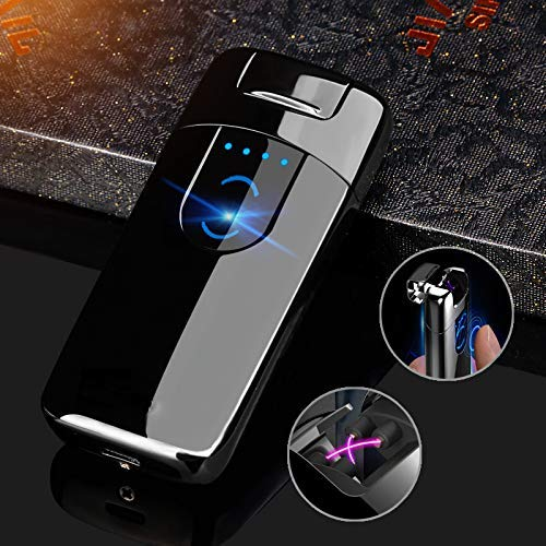 OIIKURY Electric Lighter Tesla Windproof USB Rechargeable Dual Arc Plasma Lighter with LED Display Power (Black ice)