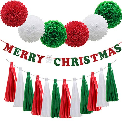 ADLKGG Christmas Red Green White Party Decorations,