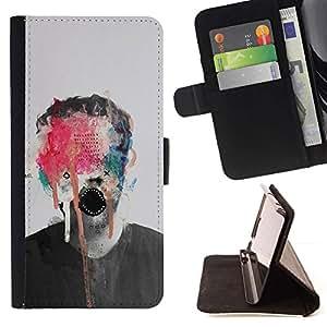 Momo Phone Case / Flip Funda de Cuero Case Cover - Pintura abstracta del arte del monstruo Foto Hombre - Apple Iphone 5C