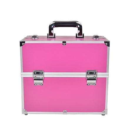 MCTECH® Estuche cosmético Beauty Case Alu SuitCase Estuche Maletín para maquillaje Estuche para cosméticos, 340 * 210 * 290mm (Rosa roja)