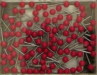1/16 Inch Map Tacks - Red (100 pins per box) - Moore Push Pin