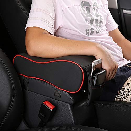 Espuma De Memoria Reposabrazos para El Autom/óvil con Soporte para Tel/éfono Bolsa De Almacenamiento Semoic Autom/óvil Amortiguador para El Carro Reposabrazos Transpirable Naranja