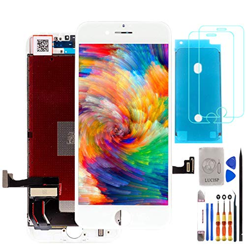 LUCISP Screen Replacement for iPhone 8 Touch Digitizer LCD Replacement Frame Assembly Full Set Earpiece Anti-Dust Mesh +Proximity Sensor Plastic Holder White