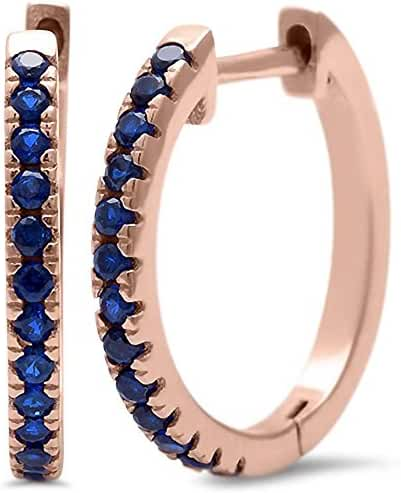 Sterling Silver Rose Gold Plated Simulated Blue Sapphire Hoop Earring