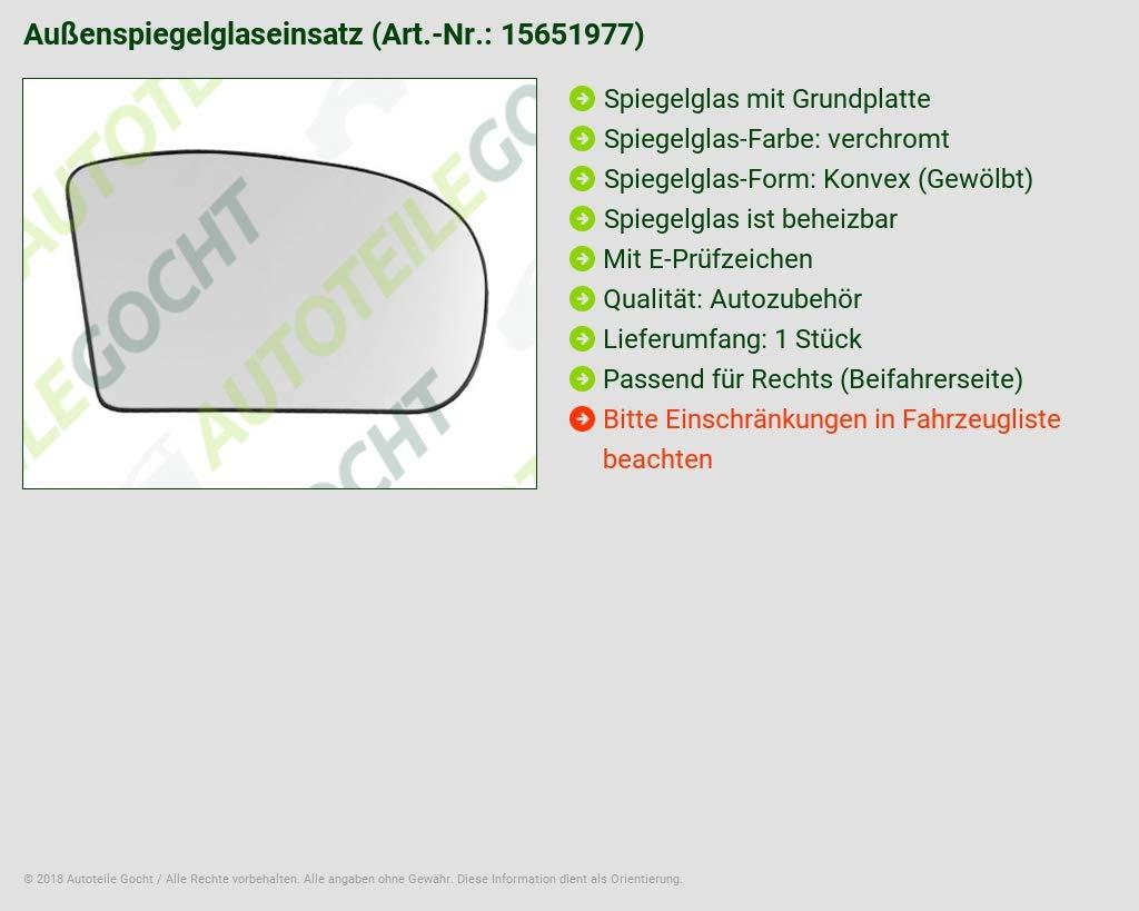 Vetro SPECCHIO DESTRA CONVESSA CROMO heizb per 2038100221 a2038100221 6472534