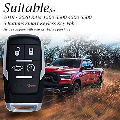 Vitodeco Genuine Leather Keyless Entry Remote Control Smart Key Case Cover with Leather Key Chain for 2020-2020 RAM 2500, 3500, 4500, 5500 (5-Button, Black): Automotive