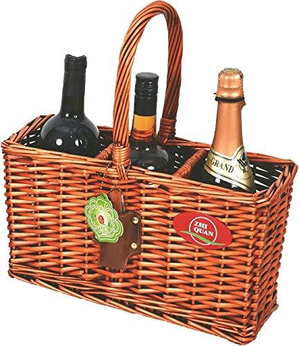 (Indoor/Outdoor Wicker Willow Basket 3 Bottle Wine/Champagne/Beverage Tote)