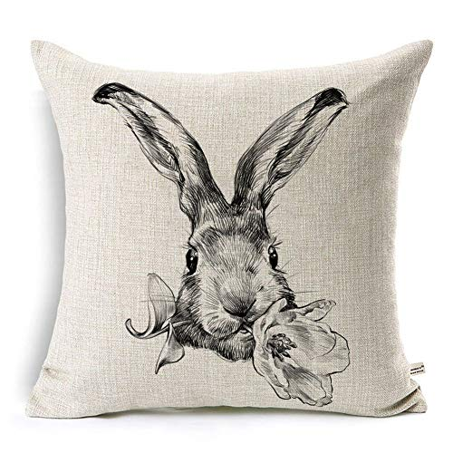 ONWAY Farmhouse Easter Pillow Cover 18x18 - Bunny Rabbit Throw Pillow Cover - Black Sketch Decorative Linen Pillow Covers, 1 Pack