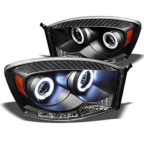Xtune 2006-2008 Dodge Ram Twin Halo LED Projector Headlights Black Head Lights Lamp Pair Left+Right 2007 ()