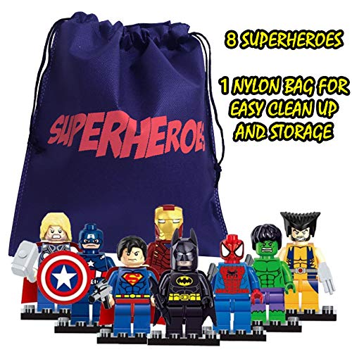 fat cat sales Superhero Mini Building Block Action Figures 8 PCS with A Bag for Quick Clean UP - Building Blocks are Interlocking & Fun to Assemble - Interchange The Pieces for New Looks -