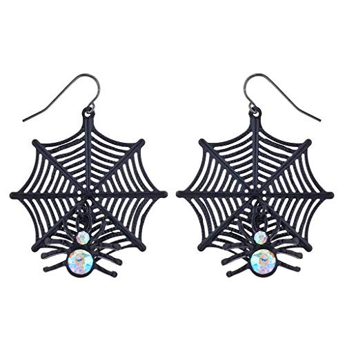 Lux Accessories Black Spider Web AB Stone Halloween Costume Dangle Earrings