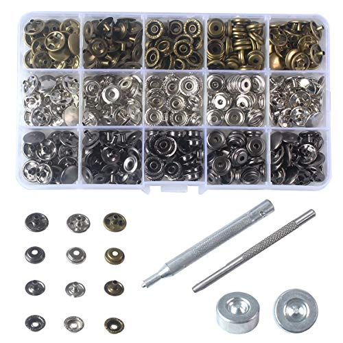 "INNEOTC 90 Sets - 12mm(1/2"") Metal Line 24 Gunmetal Black Plated Steel Snaps Fastener Leather Rapid Rivet Button Sewing with Seting Tool (12mm, Mixed)"