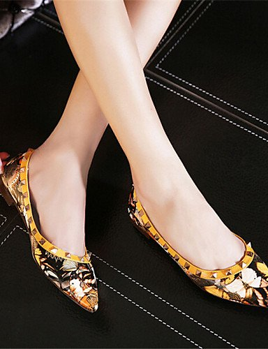 cn35 uk3 5 señaló plano eu36 Toe azul 5 yellow Flats talón zapatos PDX amarillo us5 las Casual mujeres de HqnUTwa