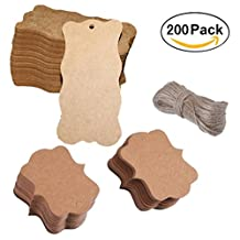 Magnolian 200 Pieces Craft Paper Tags Kraft Gift Tags Hang Labels with 30 Meters Natural Twine for Wedding Favor Tags, Product Labels, Scrapbooking, Various Arts & Crafts and Homemade Projects