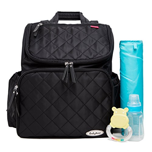 Baby Diaper Bag Backpack with Nappy Change Mat by BabyKoo. Black with Teal interior. Unisex Multi-Function Stylish Design with stroller straps. by Baby Koo