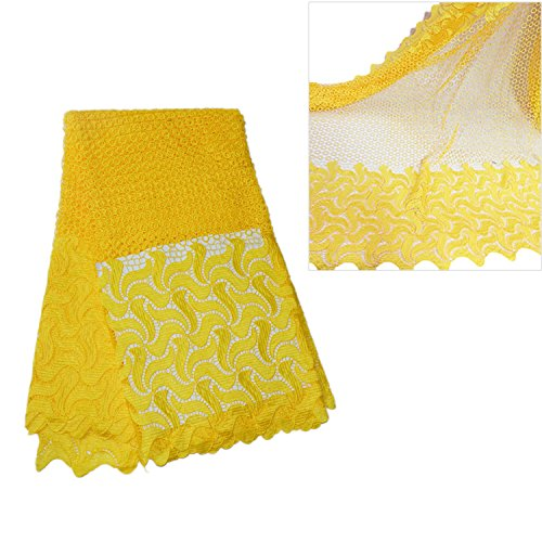 KENLACE 5 Yards/Lot African Lace Fabric Swiss Voile Lace Emboridery Cotton French Mesh Lace Fabric Material (Yellow)