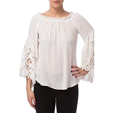 5107dba2952 Joseph Ribkoff Off White On/Off Shoulder Lace Bell Sleeve Top Style 173286  - Size