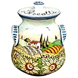 CERAMICHE D'ARTE PARRINI- Italian Ceramic Biscuit Cookies Jar Hand Painted Decorated Sunflowers Landscape Made in ITALY Tuscan Art Pottery