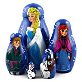 Frozen Elsa and Anna Wooden Nesting Dolls Matryoshka Russian Dolls Movie TV Film, Kids Gifts Ideas Room Design Ideas Toys Wood, set 5pc