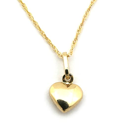 Amazon 14k yellow gold tiny puffed heart pendant necklace 14k yellow gold tiny puffed heart pendant necklace pendant only mozeypictures Choice Image