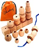 25 Natural Wood Blocks Lacing Beads by Skoolzy - Montessori Materials Preschool Toys Waldorf Motor Skills Stacking Building OT