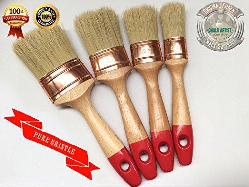 #RB4 - SET OF 4 - reine Borsten CHALK Selbstbemalen & WAX shabby chic 4 OVAL NO BRISTLE LOSS reine Maler Glasurstift Bestimmtheit Qualität