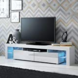 TV Table with 2 Glass Shelves and drawers with LED lights, White, Size: 450 mm*2000 mm*350 mm